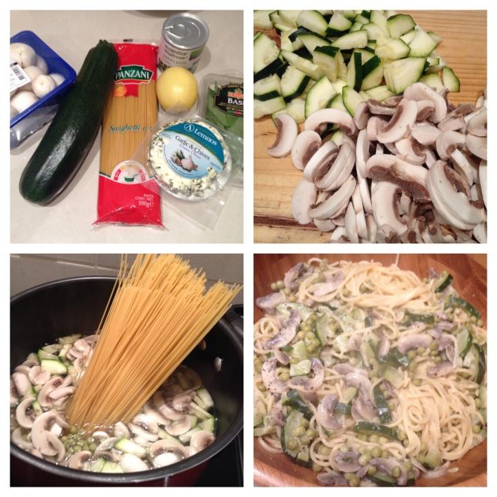 Creamy courgette, mushroom and pea pasta