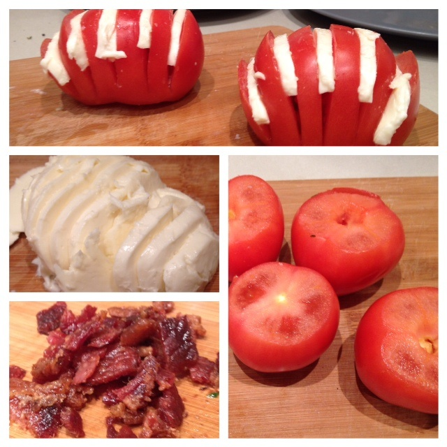 Hasselback tomato salad assembly